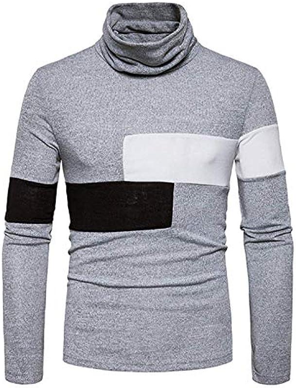 Męski jesień zima sweter dziergany z modnym swetrem zwijany kołnierz modny sweter z dzianiny elegancki długi rękaw Slim Fit wysoki kołnierz gÓrne części topy: Odzież