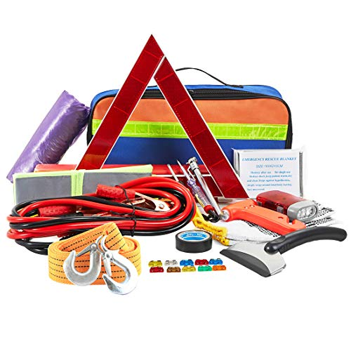 Multipurpose Roadside Emergency Assistance Kit-Jumper Cables,Safety Hammer,LED Flash Light,Tow Strap,Safety Vest and More Ideal Winter Survival Pack Accessory for Your Car,Truck or SUV
