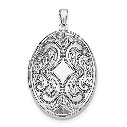 - Mia Diamonds 925 Sterling Silver Oval Scroll Locket (36mm x 28mm)