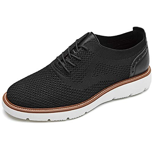 LAOKS Men's Mesh Sneakers Wingtip Oxford Lightweight Breathable Walking Shoes Black