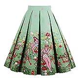 Girstunm Women's Pleated Vintage Skirt Floral Print A-line Midi Skirts with Pockets Bike-Ladies XXX-Large