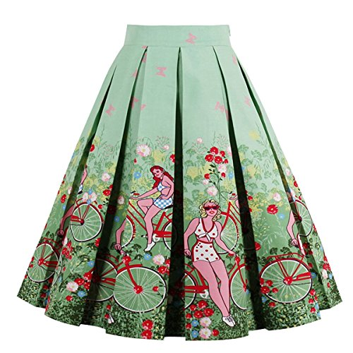 Girstunm Women's Pleated Vintage Skirt Floral Print A-line Midi Skirts with Pockets Bike-Ladies -