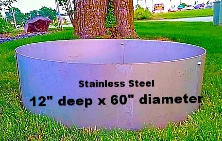 Round Stainless Steel Fire Pit Liner Campfire Ring - 60