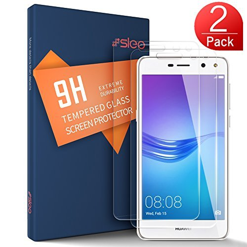 SLEO Huawei Y5 2017 / Y6 2017 Screen Protector - SLEO Premium Surface Hardness Crystal Clear Tempered Glass Screen Protector Guard Cover for Huawei Y5 2017 / Y6 2017 - 2 Pack