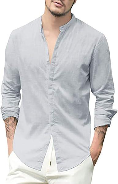 Camisa Camisas Talla Grande Túnica para Hombre Lino sólido ...