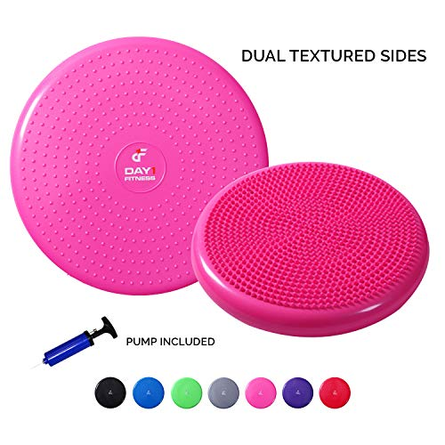 Inflatable Wobble Cushion with Pump by Day 1 Fitness - 13' Pink- Durable Exercise Balance Pad to Improve Coordination, Stability, and Core - Balancing Disc Cushions for Home, Gym, School, Rehab