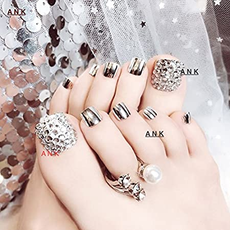 3D Toe Fake pegamento Shimmer diamante Full uñas metálico plata Tipa 24/12/1 uñas: Amazon.es: Belleza