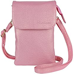 MINICAT Roomy Pockets Series Small Crossbody Cell Phone Purse Wallet Bag With Magnetic Button(Pink)
