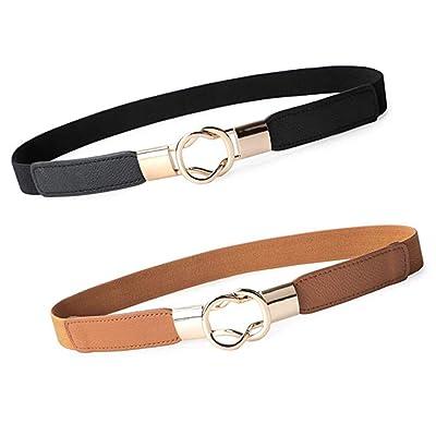 2pcs de las mujeres elásticos de la cintura del cuero de metal Cinturón fino elástico retro del metal pretina de la hebilla de señora Dress (Negro y Camel): Ropa y accesorios