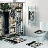 Philip-home 5 Piece Banded Shower Curtain Set and Ground Rustic s of an Old Rock House withFrench Frame Details in Countryside European Past Decorate The Bath