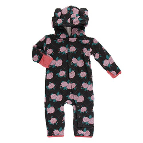 Kickee Pants Little Girls Print Quilted Hoodie Coverall with Sherpa-Lined Hood - English Rose Garden with English Rose, 6-9 Months (Hooded Orange Coverall)