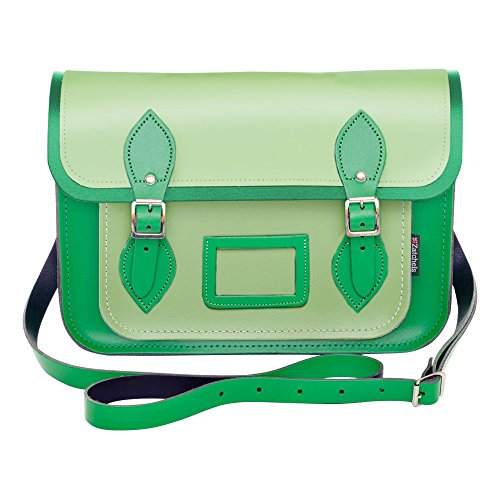 Zatchels - Borsa in Pelle con BOTTONI MAGNETICI Fatta a Mano - Bicolore - Satchel British Made - Donna Blu