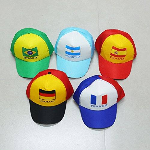 Liangmao 2018 World Cup Hat cap football movement Germany Argentina Brazil Fans supplies gift souvenir Peak Hat adult child (Color : Spain) by Liangmao