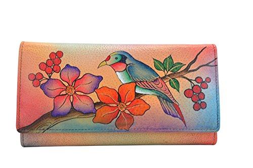 Leather Anuschka Wallet - Anuschka Handpainted Leather 1701-BBR,Checkbook Wallet/Clutch,Bird on Branch