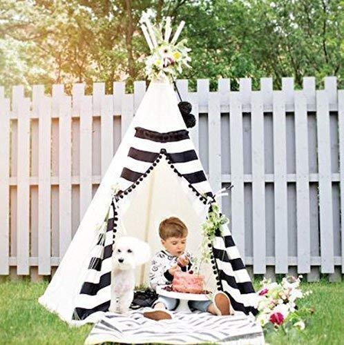 Monochrome kids play tent, Children play tent, Kids teepee, black and white tipi with 5 poles