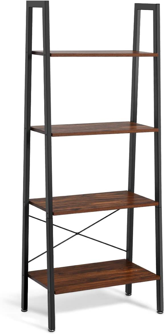 Giantex Ladder Shelf 4-Tier Industrial Bookshelf Storage Rack Shelve
