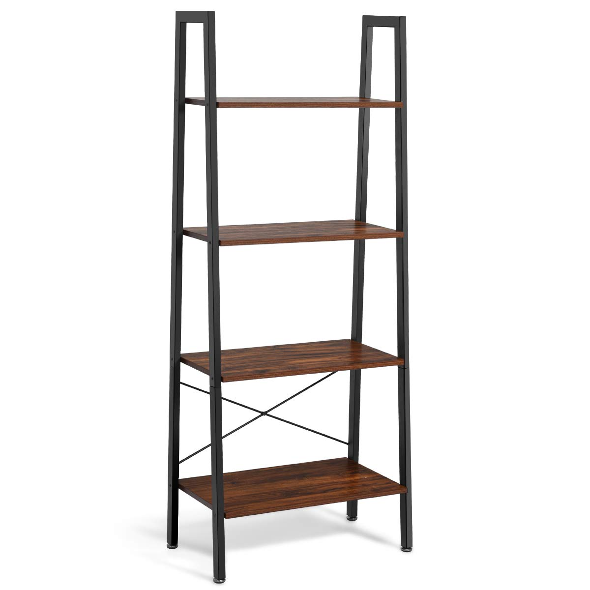 Giantex Ladder Shelf 4-Tier Industrial Bookshelf Storage Rack Shelves for Home and Office Use, Wood Display Rack with Metal Frame (Rustic Brown) by Giantex