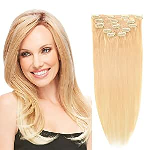 "14""Remy Human Hair Clip in Extensions for Women Thick to Ends Bleach Blonde(#613) 6Pieces 70grams/2.45oz"