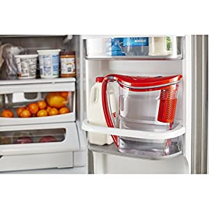 Brita 10 Cup Stream Filter as You Pour Water Pitcher with 1 Filter, Hydro, BPA Free, Chili Red