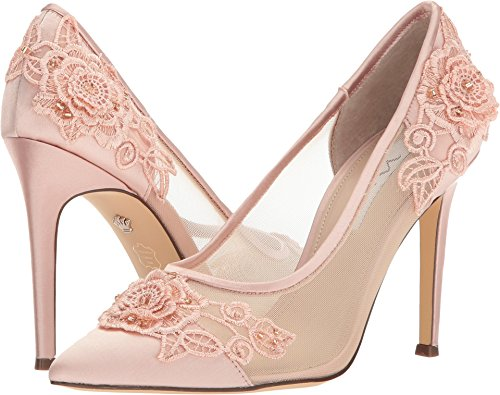 - NINA Women's Donela Blush Crystal Satin/Rose Applique/Mesh 7.5 M US