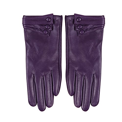 Nappaglo Nappa Leather Gloves Warm Lining Winter Button Decoration Imported Leather Lambskin Gloves for Women (S, Purple)