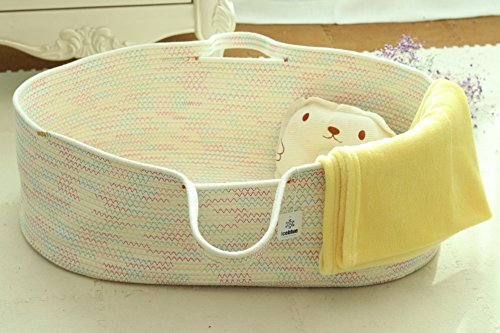 (Iceblue HD Spacious Soft Moses Basket Cradle Bedding Set Nursery Storage Basket Toy Basket Baby Gift Set (Gender-Neutral))