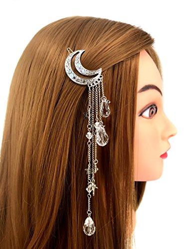 Tassel with Crystal Beads Charms Hair Clip Pin Hair Chain Jewelry Hair Accessories (Silver Moon Tassel) ()