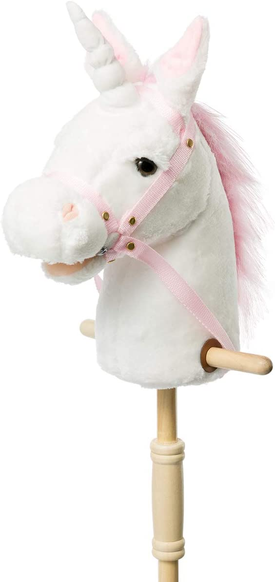 HollyHOME Plush Unicorn Stick Horse with Wood Wheels Real Pony Neighing and Galloping Sounds Plush Toy White 37 Inches(AA Batteries Required)
