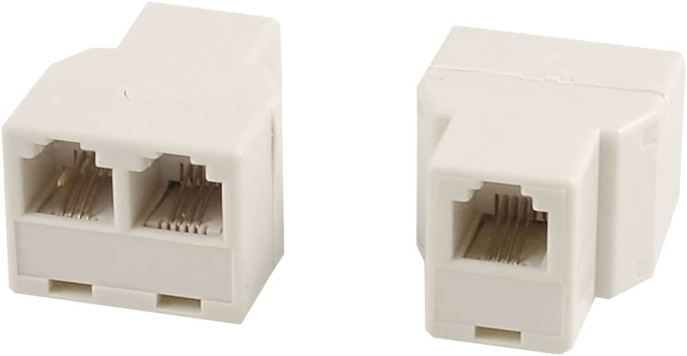 10Pcs RJ11 6P4C Telephone Phone Line 1 Male to 2 Female T Splitter Adapter Ivory