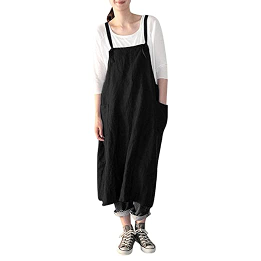 06396faba4e Amazon.com: Lmx+3f Sexy Women's Square Cross Tunic Aprons Dresses with  Pockets Pinafore Cotton Linen Dress Loose Soft Comfy Tops: Clothing