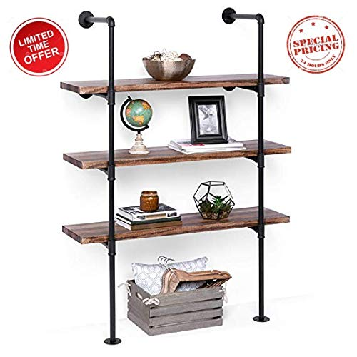 Industrial Pipe Shelving - Black Rustic Floating Wall Shelf - Mount Up to 4 Shelves - Vintage Farmhouse Decor for Kitchen, Bedrooms, Bathroom, Living Room Ladder Bookshelf - Wood Planks not Included