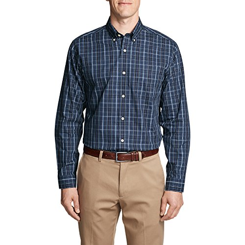Eddie Bauer Men's Wrinkle-Free Relaxed Fit Pinpoint Oxford Shirt - Blues, Midnig (Fit Pinpoint Dress Shirt)