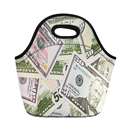 Semtomn Lunch Tote Bag Crisis Some 50 Us Dollar Bank Notes Banking Bill Reusable Neoprene Insulated Thermal Outdoor Picnic Lunchbox for Men Women