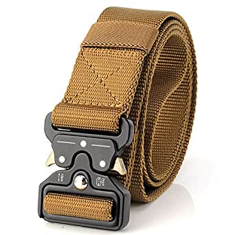 Tactical Belt Unisex Nylon Heavy Duty Waist Belt Adjustable Military Style Web Belt with Metal Buckle (Brown)