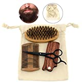 Facial Nerves And Teeth - Beard Brush and Comb Kit, Set of 4 Facial Hair Care Gift Set with Boar Bristle Brush Wood Comb Beard Trimmer Scissors Thick Comb for Men Grooming, Styling & Shaping