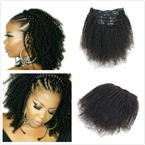 AfroKinky Curly Clip In Human Hair Extensions 8AGrade4B4CTight Curl Double Wefts Human Hair Ins Weave Remy Hair Natural Black Full Head 7Pcs/Set 100G For African American Black Woman (10INCH/25CM) (Best Brand Of Weave For African American Hair)