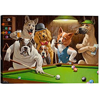 High Quality Eliteart Dogs Playing Pool Billiard Artisan By Cassius Marcellus Coolidge  Oil Painting Reproduction Giclee Wall Art Canvas Prints