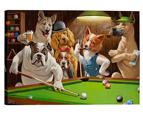 Eliteart-Dogs Playing Pool Billiard Artisan by Cassius Marcellus
