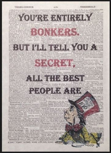 Mad Hatter Alice in Wonderland Bonkers Quote Print Vintage Dictionary Page Picture Art Homemade