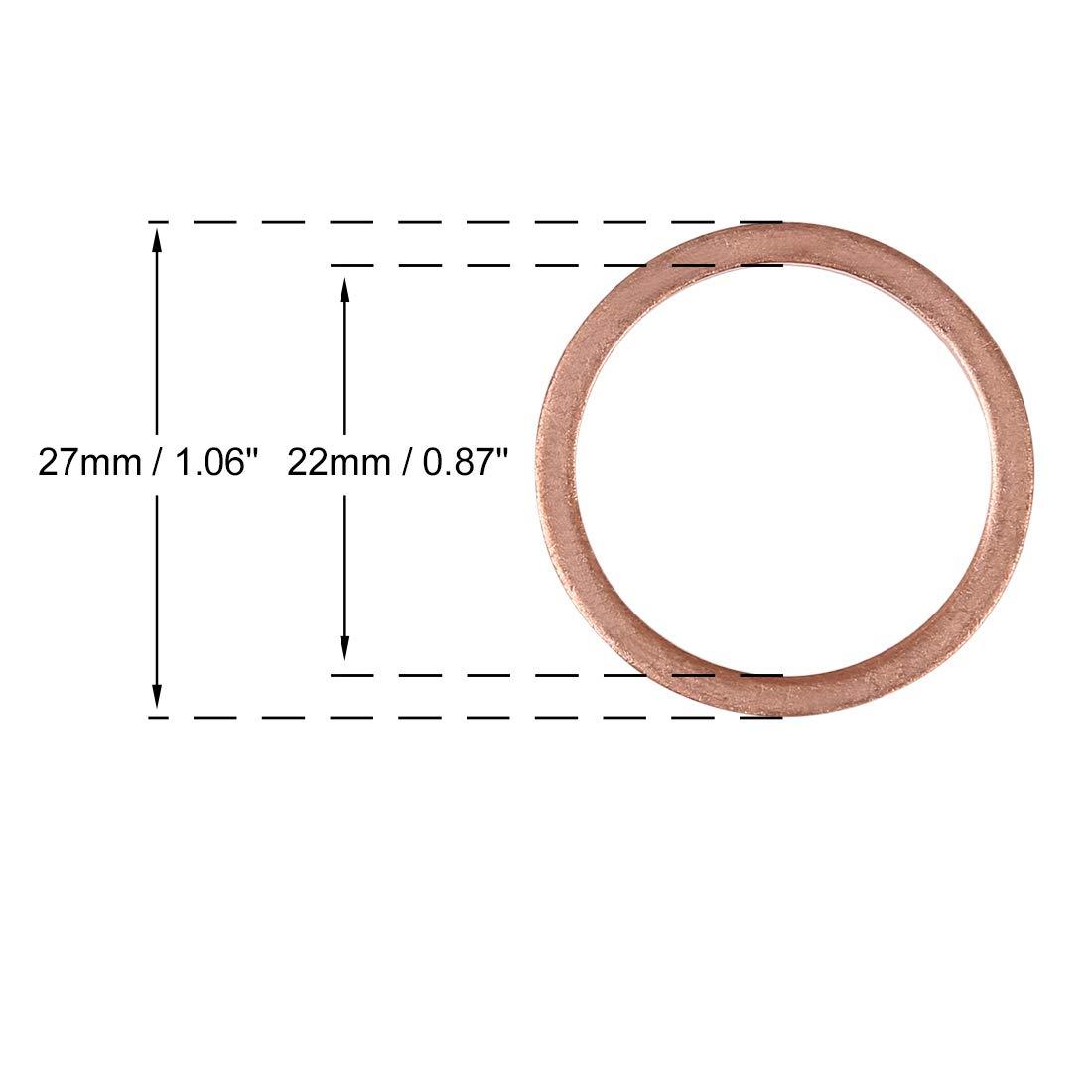 X AUTOHAUX 20pcs Rondelle Cuivre /étanch/éit/é Joint Torique Voiture 22x27x1.5 mm