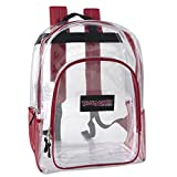 Deluxe Clear Backpack With Reinforced Straps For School, Security, and Sporting Events (Red)