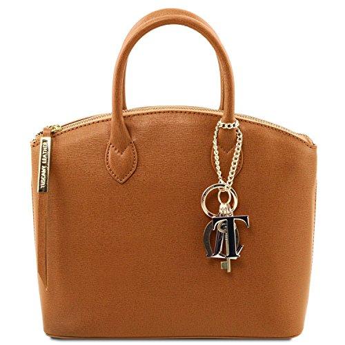 Cognac Tuscany pelle piccola shopper KeyLuck Misura in Leather TL Borsa Nero Saffiano qnwFPqCOU
