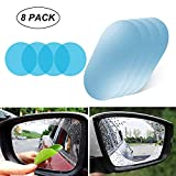 Ewolee Car Rearview Mirror Film, Waterproof Anti-Fog Anti-Glare Nano Coating Side Mirror Window Protector Film, Anti-Scratch Mirror Protective Film for Car SUV Truck Trailer, 8 Pack