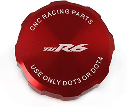 Red crazy sport Front Brake Master Cylinder Fluid Reservoir Cover Cap For YAMAHA YZF-R6 YZFR6 2010-2017 2016 Aluminum Motorcycle Accessories CNC With Logo 2014 2015