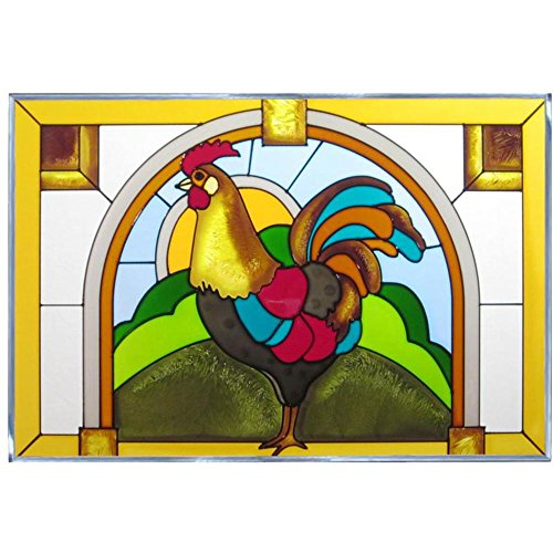 Silver Creek Rooster Painted Glass Panel V-519