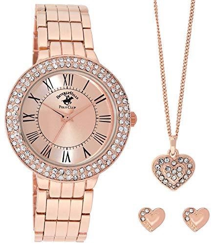 Beverley Hills Polo Club Women's Quartz Rose Gold Watch Set - Matching Heart Necklace- Casual Business Watch