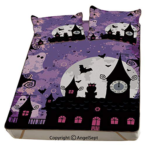 Vintage Halloween,Summer Cooling Mat 3D Printing Foldable Folding Summer Ice Silk Cover Cool Mat with Pillowcase(KING) Halloween Midnight Image with Bleak Background Ghosts Towers and Bats Decorative