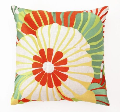 Trina Turk Sea Floral Embroidered Pillow, Orange, 20\