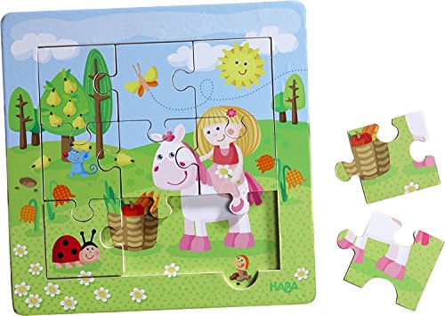 HABA Framed Wooden Puzzle Fairy Garden - with 9 Double Sided Jigsaw Pieces for Ages 18 Months and Up - Haba Puzzle Book