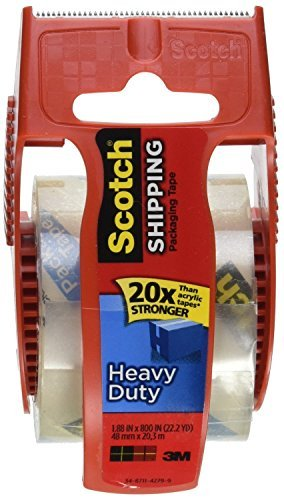 Scotch Heavy Duty Shipping Packaging Tape, 1.88 Inch x 800 Inch, Clear (Pack of 6) by Scotch